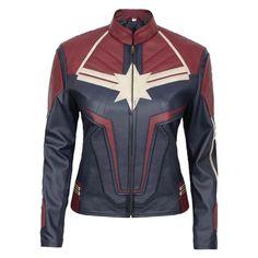 Carol Danvers Captain Marvel Movie / Cosplay Leather Jacket Womens - 5XL / Sheepskin Leather