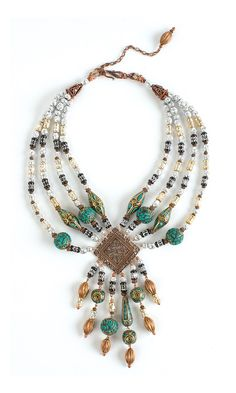 """Jewelry Design - Multi-Strand Necklace with Aluminum Beads, Copper Beads and Mosaic """"Turquoise"""" Gemstone Beads - Fire Mountain Gems and Beads"""