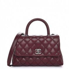 3734dfee64 CHANEL Caviar Quilted Mini Coco Handle Flap Burgundy 298617  Chanelhandbags