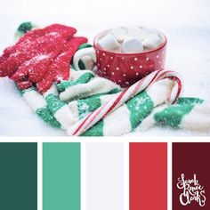 Christmas colors are more than just red and green. These color palettes and color schemes will inspire you to find new colors for your Christmas crafts! Christmas Palette, Christmas Colour Schemes, Scheme Color, Colour Pallette, Winter Colour Palette, Yarn Color Combinations, Mood Colors, Color Balance, Balance Design