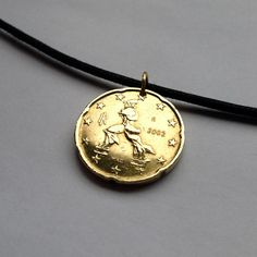 2002 Italy 20 Euro cent coin pendant necklace jewelry Italian painter sculptor artist Umberto Boccioni Futurist sculpture Europe No.000670 by acnyCOINJEWELRY on Etsy