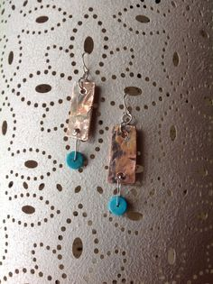 Reclaimed copper pipe earrings with turquoise beads