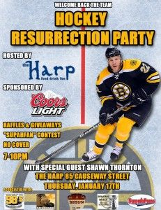 Join Bruins Daily, Days of Y'Orr, Boston Sports Then & Now, Bruins SupahFans, 98.5 The Sports Hub for the Hockey Resurrection Party at The Harp on Jan 17th from 7-10 p.m. Special guest Shawn Thornton will be there, too!