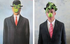 Teen tableau vivant of Magritte