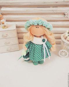 Купить Кукла-малышка. Танюшка - морская волна, интерьер, текстильная кукла, кукла в подарок, весенняя