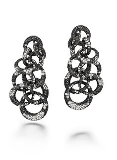 de Grisogono Anelli earrings with white and black diamonds set in white gold and titanium