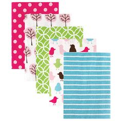 Luvable Friends Bird/Tree Receiving Blankets Flannel - 5 Pack - Pink