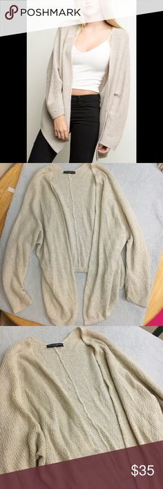Brandy Melville open front Cardigan one size cream Oatmeal high low open front Cardigan / one size / fits smaller sizes like an oversized cardigan / complimentary to any fall outfit Brandy Melville Sweaters Cardigans