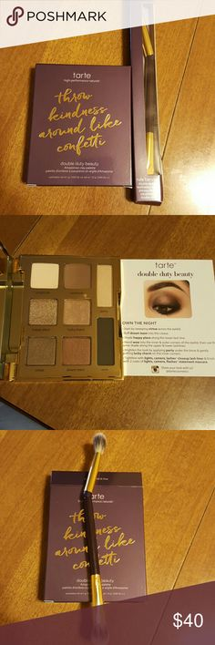 Tarte double duty eyeshadow palette and brush Brand new never used authentic tarte double duty young,wild and free Amazonian clay palette. Comes with card with ideas of two different eye looks. Also tarte double ended rule blender eyeshadow brush. The serial number on the box and palette match which is 0e41. I cannot upload a picture of the serial number due to only having the options of four pictures. tarte Makeup Eyeshadow