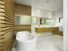 Bathroom, Modern Wood Cladding Bathroom For Large Bathroom Combining Big Bathtab Ans Many Wash Basin Plus Heated Mirror And Granite Floor And Recessed Downlights ~ Astounding Bathroom Wall Cladding Ideas for Room with Dark Accent
