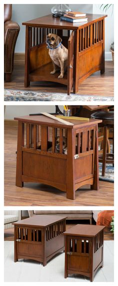 Multi-purposeful and pretty! This Pet Crate End Table will please both you and your pet. Slats in a traditional mission style provide not only flair for your home, but also ventilation and viewing for your furry friend. Shop now and receive FREE shipping on your order!