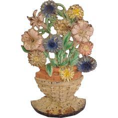 Cast Iron Wicker Basket of Flowers Door Stop Original Paint from antiquesofriveroaks on Ruby Lane