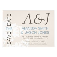 BLUE BROWN MODERN INITIALS BEACH WEDDING SAVE THE DATE CARDS by designer Elke Clarke for monogramgallery on Zazzle.com
