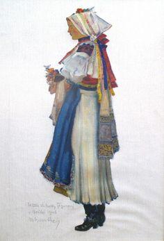 Slovakia, Bošáca Folk Costume, Costumes, Graphic Art, Illustration Art, Tapestry, Embroidery, Drawings, Artist, Painting