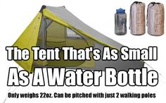 Tent That's As Small As A Water Bottle. The lightest, most portable tent you can buy. This tent is the size of a water bottle when packed away. Would be great to take in a survival kit when hiking in case you get stranded and need shelter. Hiking Tent, Backpacking Tent, Camping And Hiking, Camping Survival, Tent Camping, Camping Gear, Camping Hacks, Outdoor Camping, Outdoor Fun