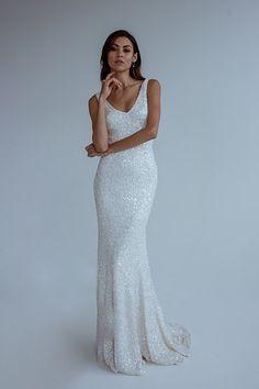 KWH by Karen Willis Holmes sequin 'Antoinette' wedding gown.   Follow us - @KWHBridal  . #karenwillisholmes #bridetobe #sequinweddingdress #modernwedding