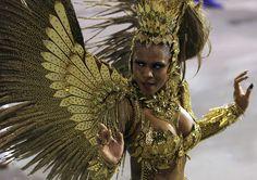 A performer from the Imperio da Casa Verde Samba School takes part in a carnival at Anhembi Sambadrome in Brazil.