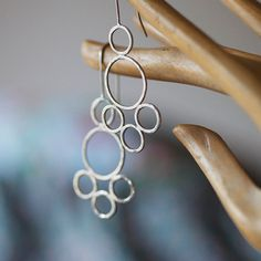Sterling silver circle earrings Hammered by oblissjewellery, $60.00