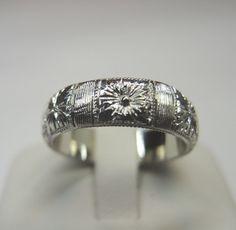 Antique Wedding Band Ring Platinum Ring Size 6.75 Art Deco Vintage Estate Bridal