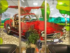 With hundreds of beautiful Mercedes® models, this famous Gull-Wing model was all the better portrayed as Mercedes Benz Stained Glass Retail Staging that. Mercedes Models, Mercedes Benz, Window Wall, Art Store, All Art, Staging, Stained Glass, Entrance, Retail