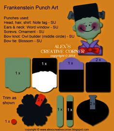 Alex's Creative Corner: Halloween Frankenstein punch art instructions