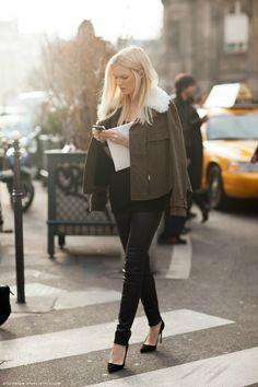 black skinnies, black heels, army green jacket. Fall fashion.