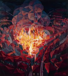 Burning City (1926) , Gerardo Dottori Centraal, Hier is de voorstelling in het midden van het beeldvlak geplaatst.