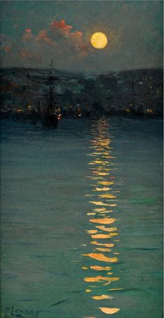 Let's do Color Inspired Today (any artist).  Fausto Zonaro (1854 – 1929) Moonlight - Italy
