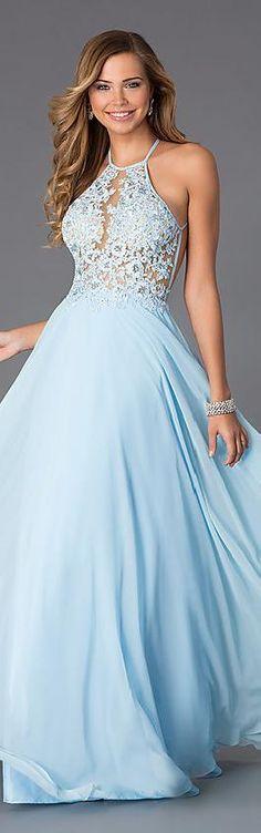 Fashion Chiffon Light Sky Blue A-Line Halter Evening Dress bestlovedresses45121yhgbi #long #promdress