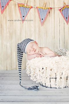 Newborn elf hat blue and grey striped stocking by maddieloubeanies, $32.00