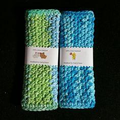 Set of 2 Crochet Striped Cotton by FondOfKnots on Etsy
