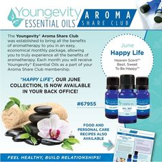 "The Aroma Share Club is a convenient way to get Youngevity Essential Oils, while being educated on the time-tested benefits of these incredible health products. June is all about providing additional support for a ""Happy Life"". #ygyclub #essentialoils #aromashareclub"