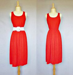 Simple but elegant 70s red terry sun dress.