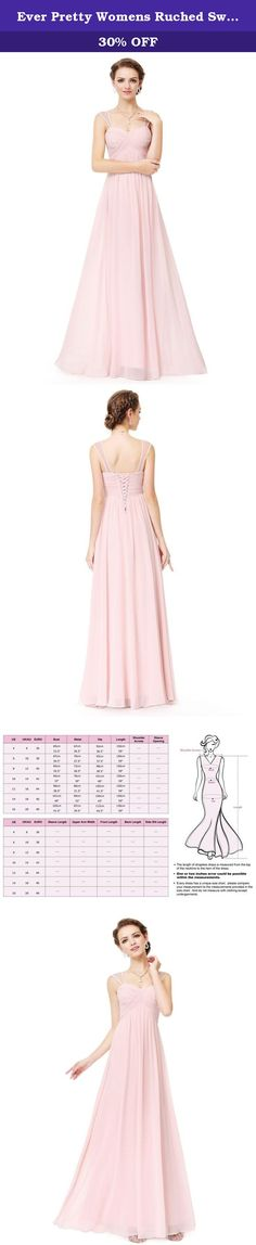 Ever Pretty Womens Ruched Sweetheart Bust Long Elegant Bridesmaid Dress 6 US Pink. A beautiful choice for the most important ladies in your life! This simple style will have your bridesmaids feeling classically elegant and will beautifully complement your wedding aesthetic. This design features delicate sheer shoulder straps, a flatteringly ruched sweetheart bust, and a corset lace up back that allows you to customize the fit. This dress is fully lined and slightly stretchy for ultimate...