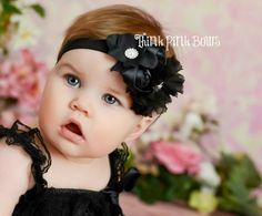 Stunning Black Multi-Flower Shabby Chic Baby Headband