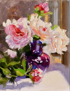 PEONIES in PURPLE VASE original oil painting by by CECILIAROSSLEE, $150.00