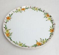 Antique yellow orange floral porcelain vanity tray Nippon blue Rising Sun mark…