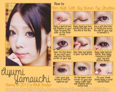"""Aim High WIth Big Brown Eyes"" Makeup tutorial from the February 2013 issue of Kera starring Ayumi Yamauchi."