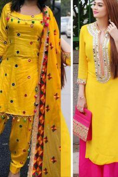 Dress Indian Style, Indian Fashion Dresses, Indian Designer Outfits, Kimono Fashion, Silk Kurti Designs, Patiala Suit Designs, Kurti Designs Party Wear, Yellow Punjabi Suit, Yellow Kurti