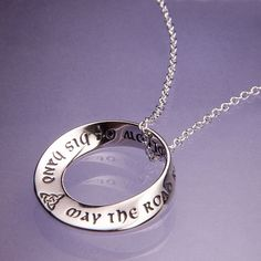.925 STERLING SILVER Irish Blessing Double Mobius NecklaceMade in the USA
