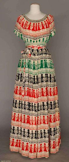 "ADRIAN RARE ""PAPER-DOLL"" PRINT DRESS, S-S 1948"