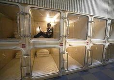 Curious capsule hotels in Japan...freak me out. Like a kennel or something.