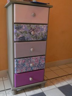 Painted and decoupaged (using Decopatch papers) drawers.