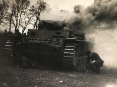 Panzer III burning after being hit.