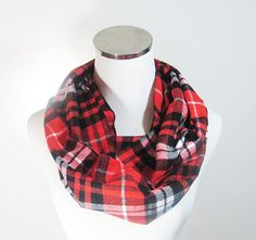 Red Plaid Flannel  Tartan Scarf.Red Infinity Scarf by ScarfTempo