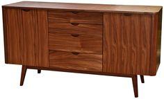 Milano Sideboard, 4 Drawers + 2 Doors in Walnut. Constructed from Walnut Veneer, Solid Africa Teak Wood and MDF - NPD