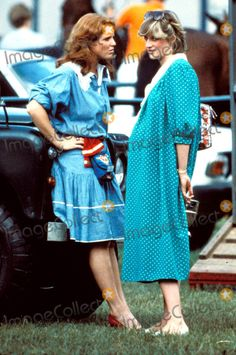 Princess Diana and Sarah Ferguson chat on a Polo pitch in 1982. Princess Diana is pregnant with Prince William.