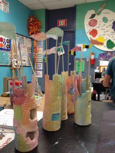A little lovely: Student Art 3d Art Projects, Ceramics Projects, Ceramics Ideas, 3rd Grade Art, Sculpture Clay, Art Classroom, Teaching Art, Elementary Art, Clay Art