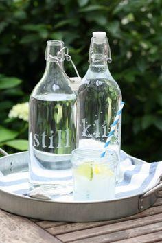 DIY Etched Glass Water Bottles - http://www.homedecority.com/decorating-ideas/diy-etched-glass-water-bottles.html
