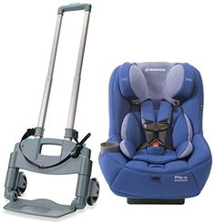 Maxi Cosi Pria 70 Convertible Car Seat with Roll N' Go Car Seat Transporter, Blue Base